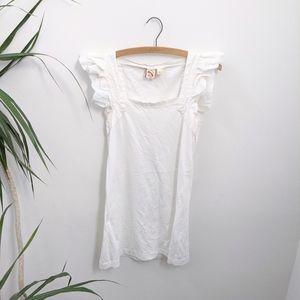 White Ruffled Sleeve Dress